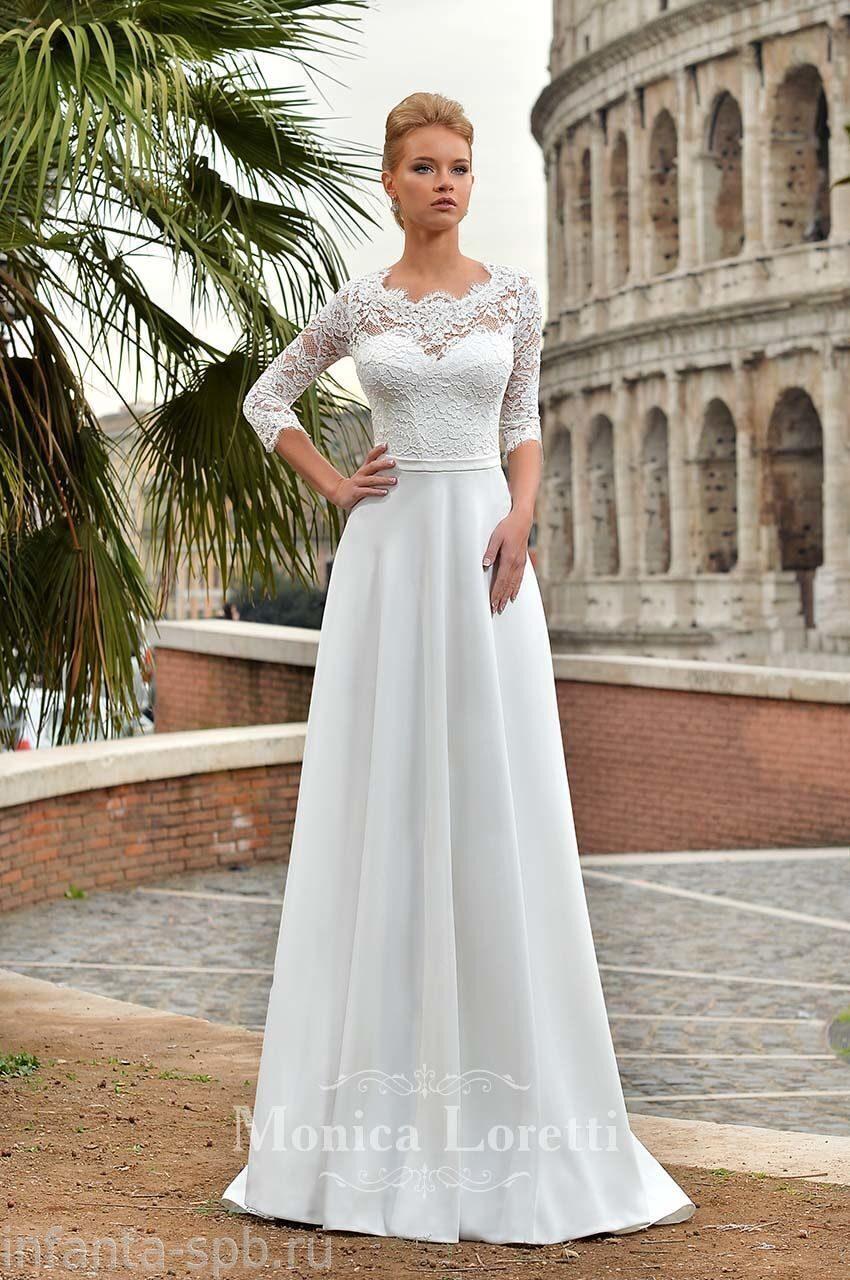 cbff68f8395d40c Свадебное платье с кружевными рукавами с закрытым верхом и открытой ...