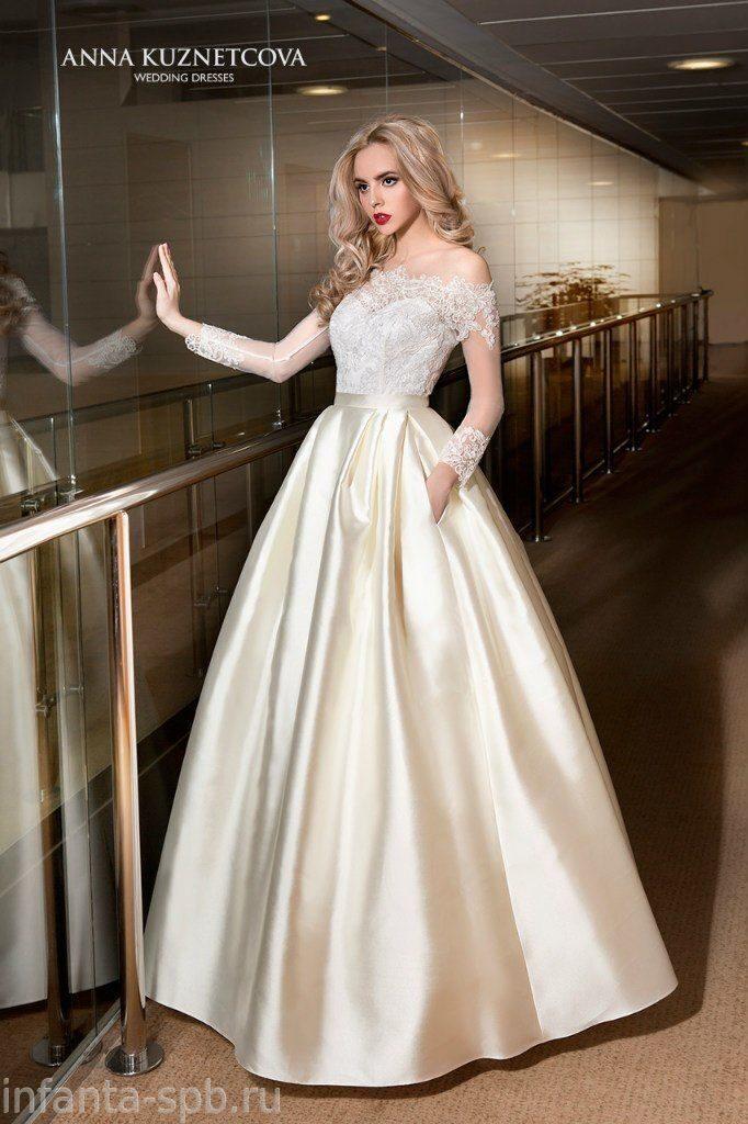 Свадебные платья с атласной юбкой фото