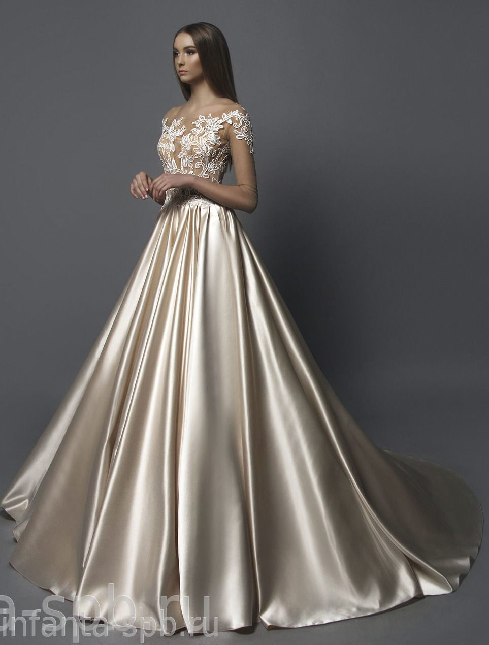 Атласные свадебные платья в спб