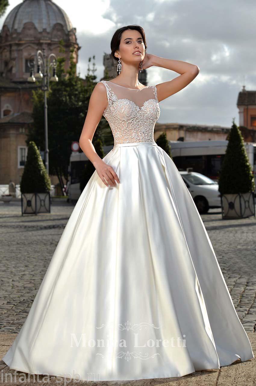 Свадебные платья с атласной юбкой купить