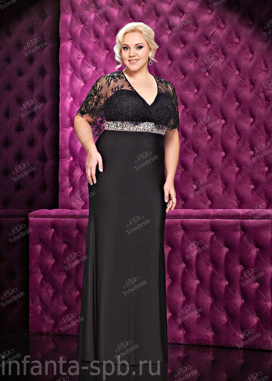 Вечернее платье черного цвета большого размера