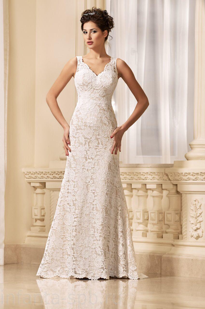 Свадебное платье капучино кружево