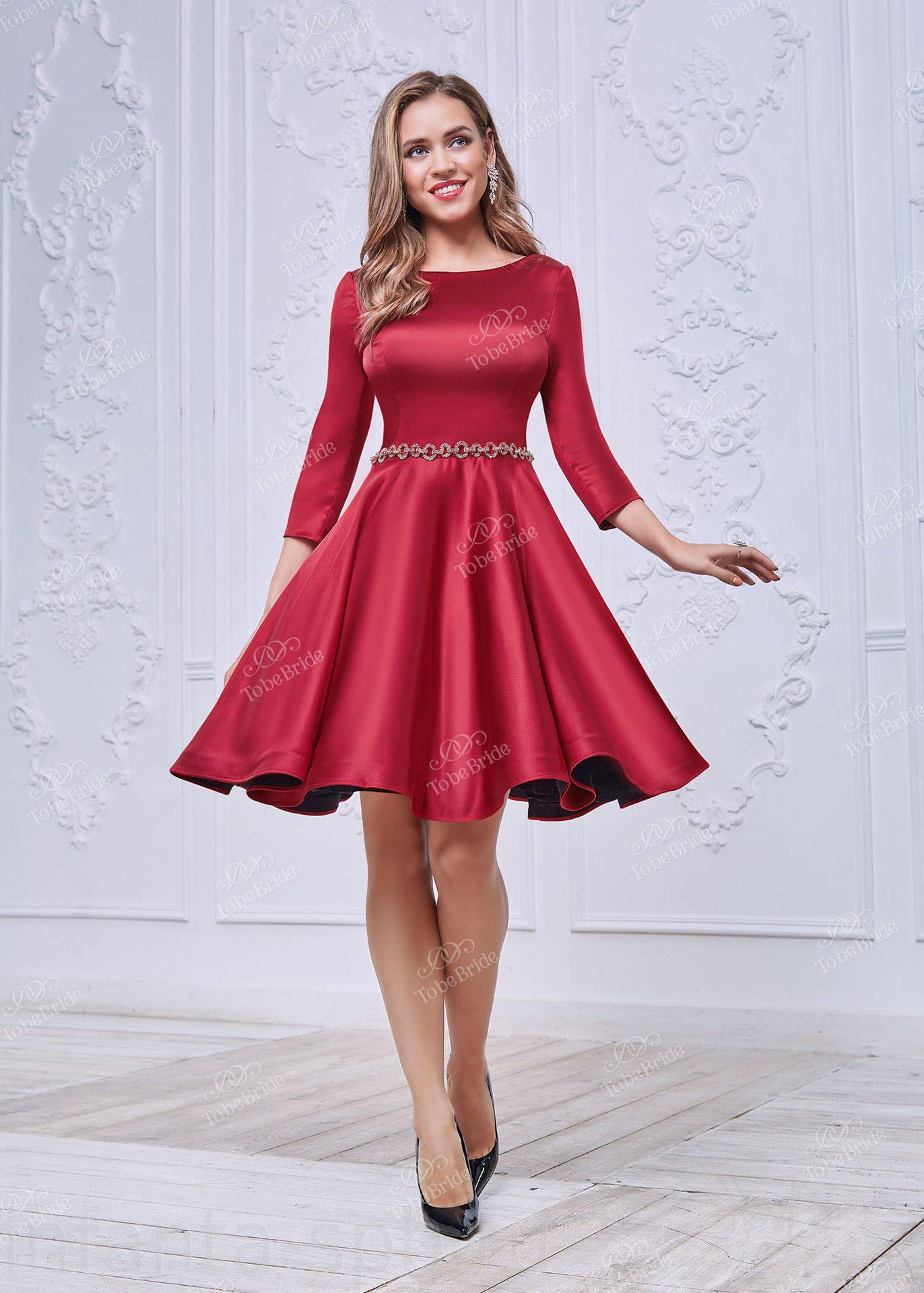 Красное атласные платья