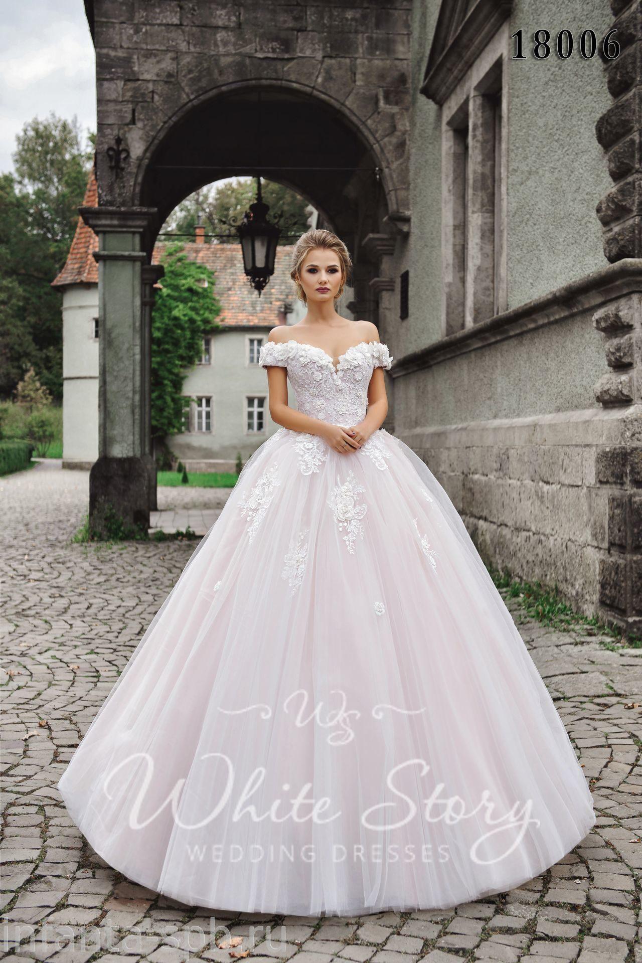 48f51afd85b Пудровое свадебное платье принцессы с объёмным кружевом