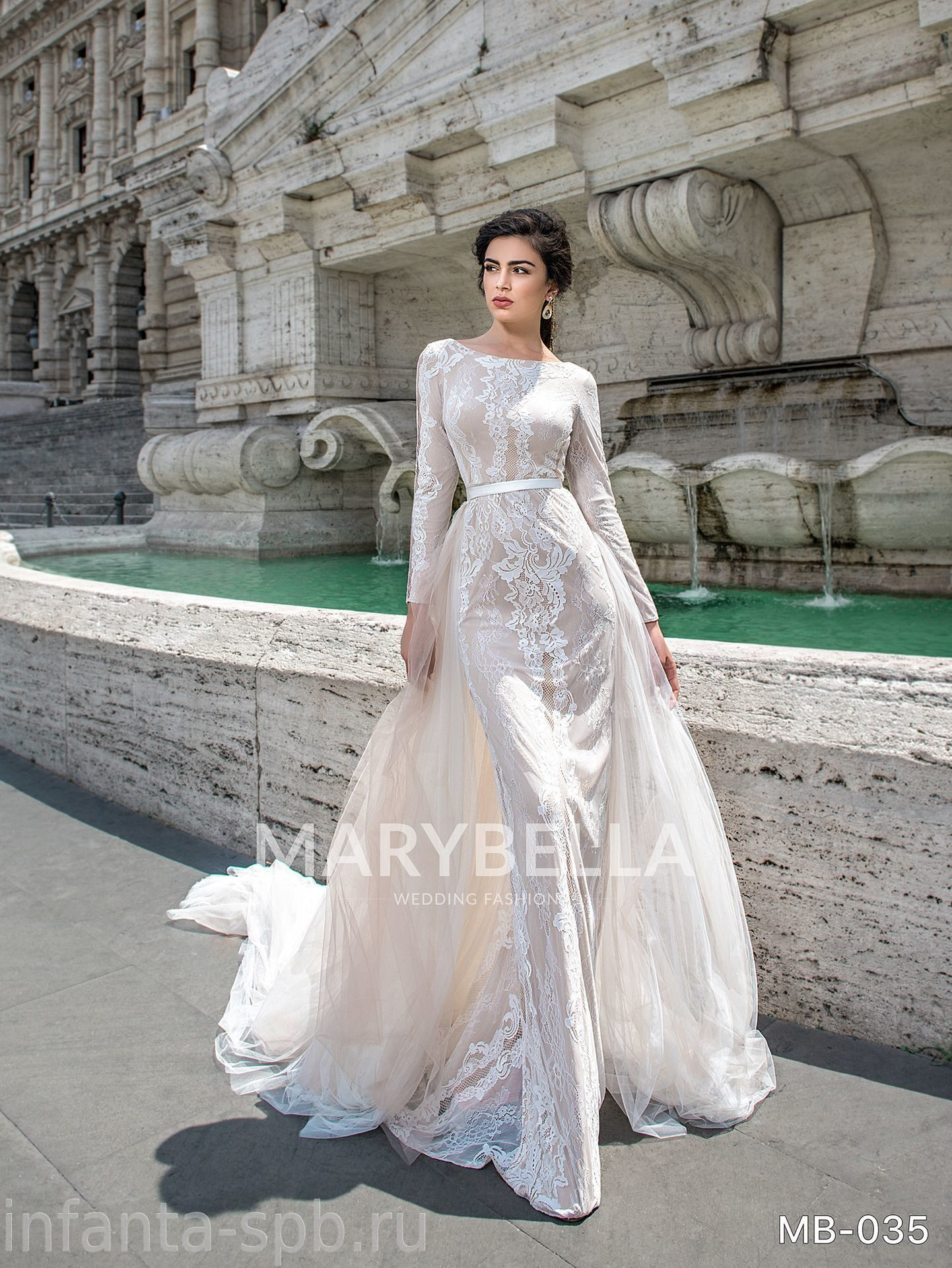 1257cfa7a1b Закрытое свадебное платье по фигуре с отстегивающимся шлейфом