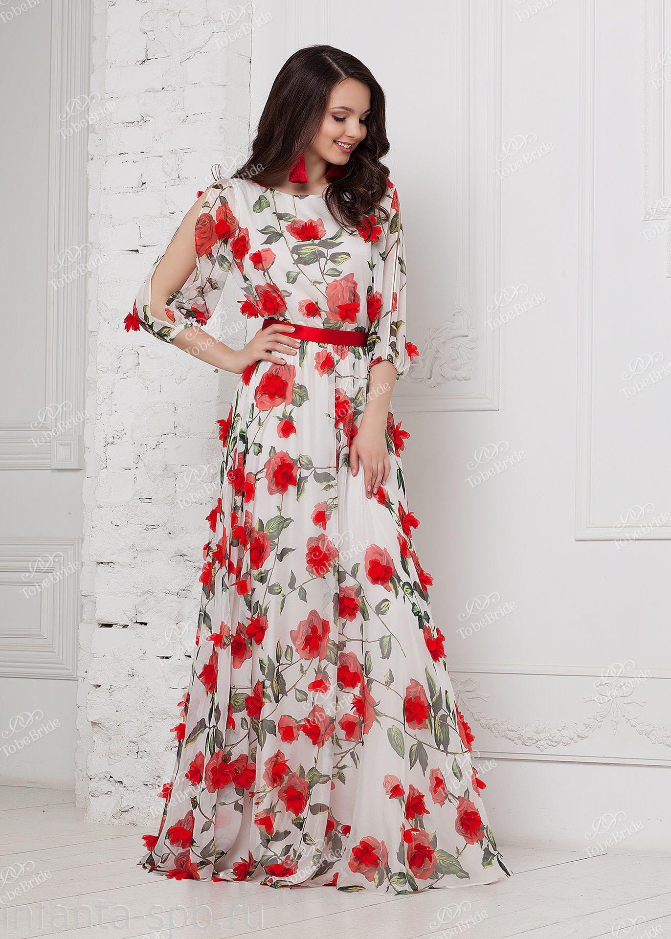 b3010d3e40d9 Шифоновое платье в пол с объемными цветами