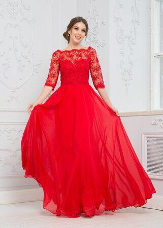 d66e8d11e1c Вечернее платье с рукавами и кружевом красное