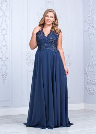 3117d09cc8750ee Синее вечернее платье с кружевом большого размера